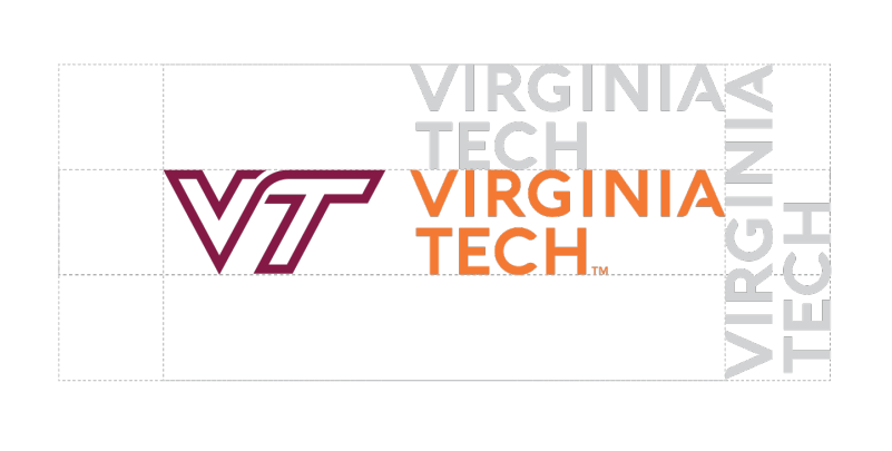 Protected area around the Virginia Tech horizontal logo