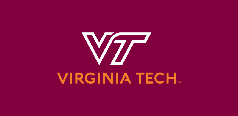 VT solid orange logotype and white mark on maroon