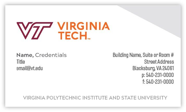 Credentials business card (front)