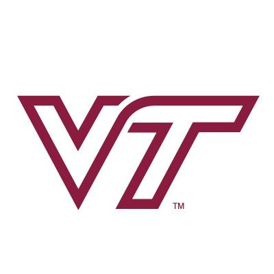 A maroon V and T on a white background.