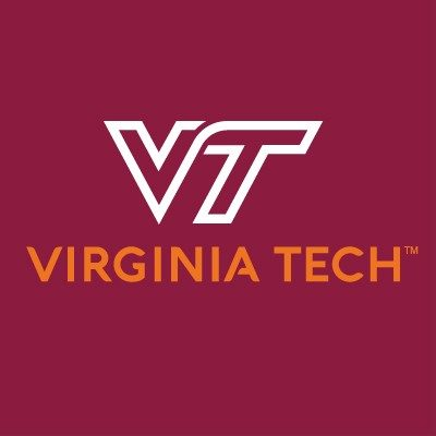"A white V and T on a maroon background. The words ""Virginia Tech"" are in orange."