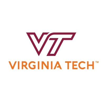 "A maroon V and T on a white background. The words ""Virginia Tech"" are in orange."