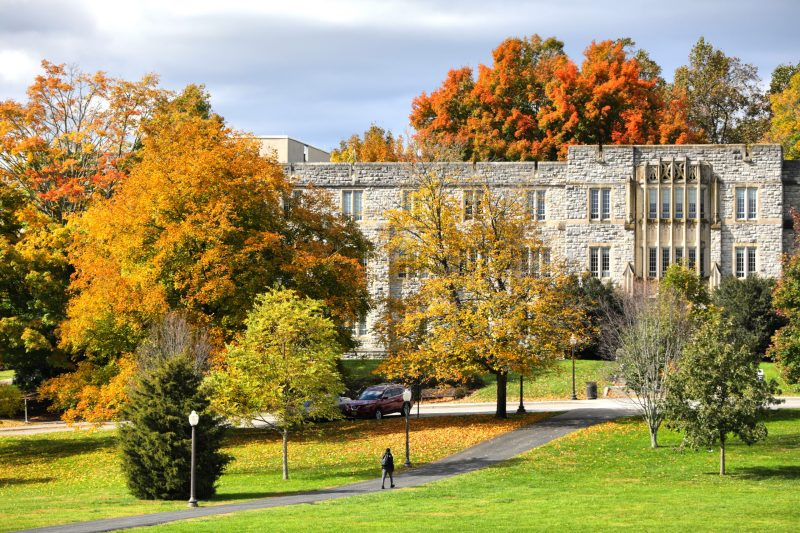 Fall colors on trees surround limestone-faced buildings.